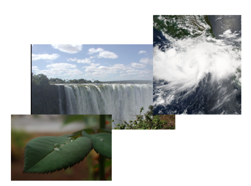 Fluid flow across length scales: raindrop on a plant leaf, waterfall and a tropical storm.